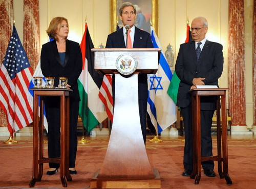 Secretary Kerry, Minister Livni and and Palestinian Chief Negotiator Erekat