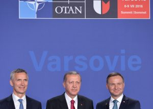 NATO Secretary General Jens Stoltenberg, President of Turkey Recep Erdogan and the President of Poland, Andrzej Duda, in Warsaw on July 8, 2016. (Image source: NATO/Flickr)
